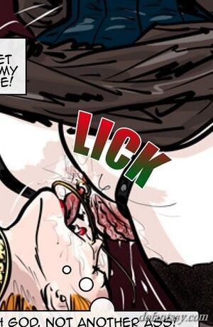 Restrained redhead slave licks