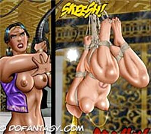 Gagged blonde slave tied